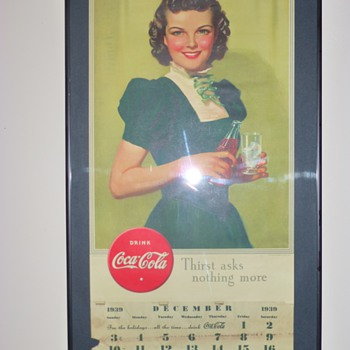 1939 Coca-Cola Calendar Thrift Store Framed &amp; Hung - Coca-Cola