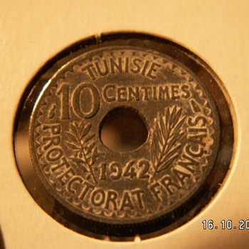 1942 Tunisia Zinc-steel coin 10 centimes  - World Coins