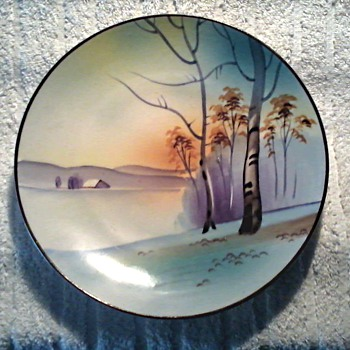 "Japanese 8 "" Nippon Landscape Plate / Green Crown Mark Circa 1891-1921 - China and Dinnerware"