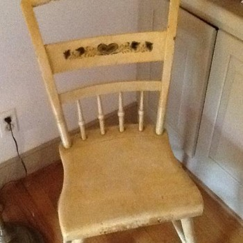 OLD, CUTE CHAIR--NEEDS A REFINISHING, TOO  SHABBY CHIC