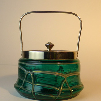 Pallme König blue-green candy or sugar-bowl - Art Nouveau