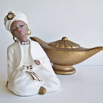 A Jewel in my Collection , Vintage Salt and Pepper Shakers Enesco Genie and Lamp  - Kitchen