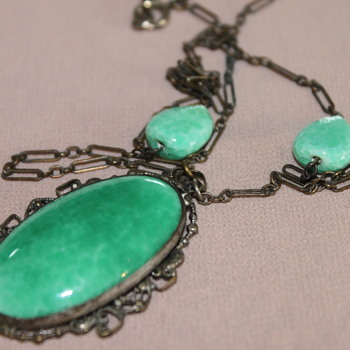 Peking Green Czech Glass Necklace - Costume Jewelry
