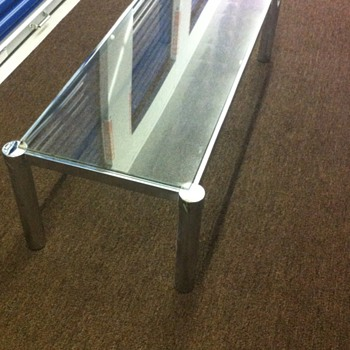 1960 0r 1970 metal table with glass top.