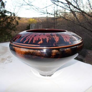 Tenmoku Glazed Signed Studio Pottery Vase/Bowl Help With Signature - Pottery