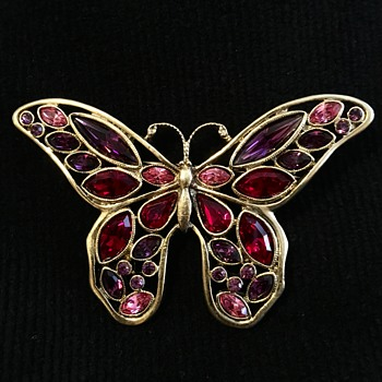 Unsigned butterfly brooch