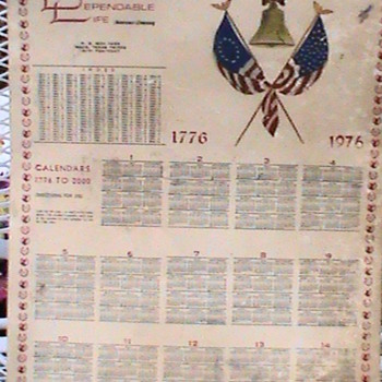 1776 1976 Dependable Life Calendar - Advertising