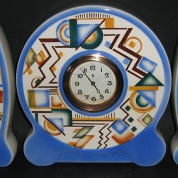 Typical patterns on pottery in the Art Deco style. (here on a mantel clock) - Pottery
