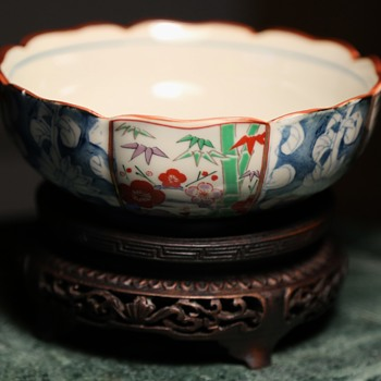 Pretty Kutani Bowl - with foil label and mark