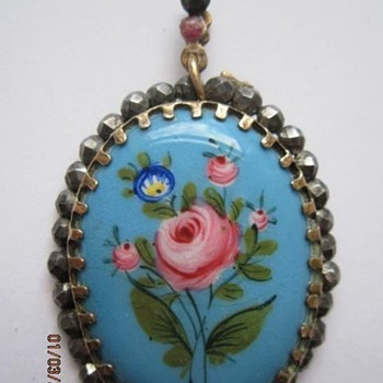 Georgian Enameled Pendant set in Cut Steel