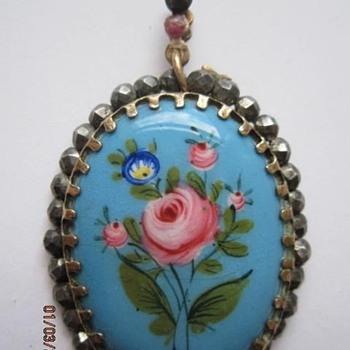 Georgian Enameled Pendant set in Cut Steel - Fine Jewelry
