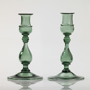 Green Candlesticks - Art Glass