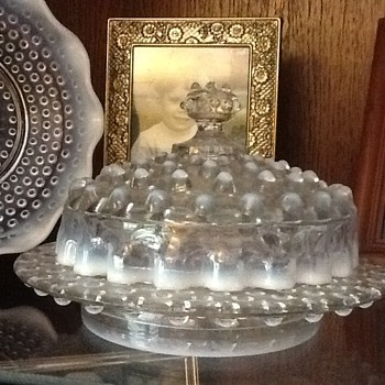 Moonstone Hobnail Butter Dish