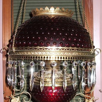 1900 ruby red oil parlor lamp