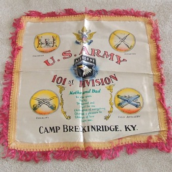 101st Division pillow cover from Camp Breckinridge c. 1948 - Military and Wartime