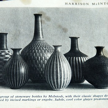 Magazine photo of beautiful McIntosh Pottery - Art Pottery