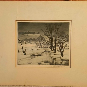 """Winter Symphony"", ca. 1940 etching print by Samuel Margolies - Visual Art"