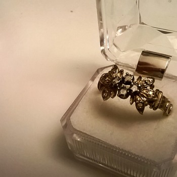 1890-1920 Gold Over Silver w/10 Rose Cut Diamonds 1 Euro Flea Market Find - Fine Jewelry