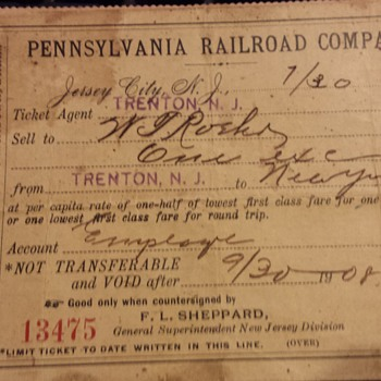 pennsylvania railroad ticket from 1908 - Railroadiana