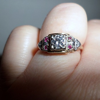 14 K Deco Diamond And Ruby Ring - Art Deco
