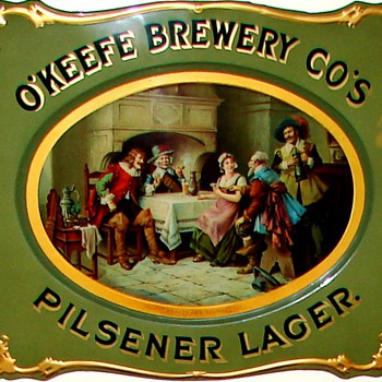 O&#039;Keefe Brewery Cos - c. 1895 curved tin sign - Breweriana