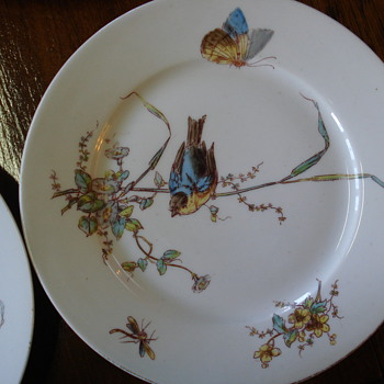 Aesthetic Bird plates impressed and hand painted unmarked - China and Dinnerware