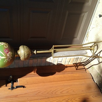 Brass Floor Lamp with Painted Globe