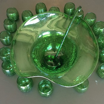 Green Crackle Glass Punch Bowl Set