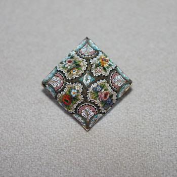 Silver Micro Mosaic Pin  - Fine Jewelry