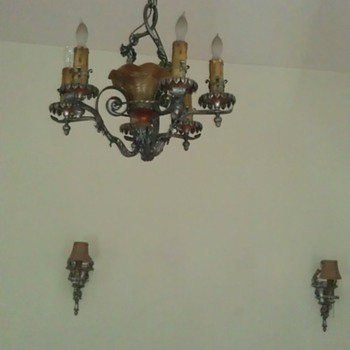 Lion Electric Mfg 1925 Chandelier &amp; matching wall sconces