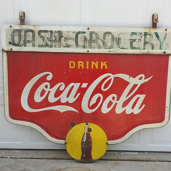 1940's Double Sided Hanging Coca Cola Sign - Coca-Cola