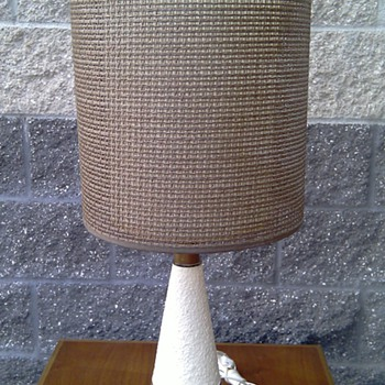 Mid Century Danish Modern Style Teak and Ceramic Lamp