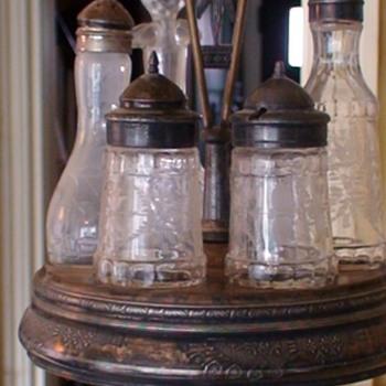 Victorian Silver Plate Castor Set 6 Glass Cruets Jars Antique Rogers Bros - Victorian Era