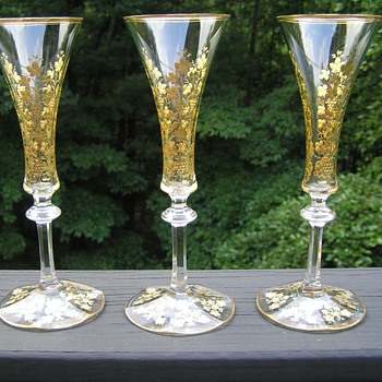 Moser Champagne Flutes - Art Glass