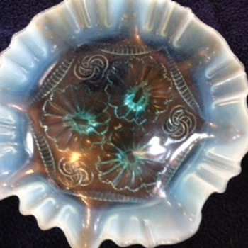 Blue Fenton bowl with three feet