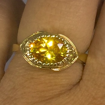Vintage Deco Yellow/ Orange Star Sapphire 14k Ring  - Fine Jewelry