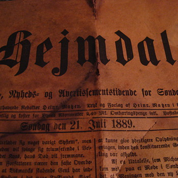 1889 edition of Hejmdal, a Danish-Norwegian language paper - Paper