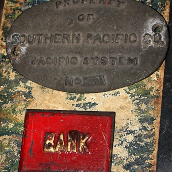 A Few Old Metal Things - Southern Pacific RR, Bank, Talcum Powder, Cricket and Nouveau Hooks