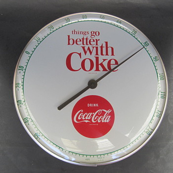 Vintage 1960 Coca Cola Thermometer white background