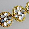 Antique Victorian Moonstone Bar Brooch Pin Silver Gilt England