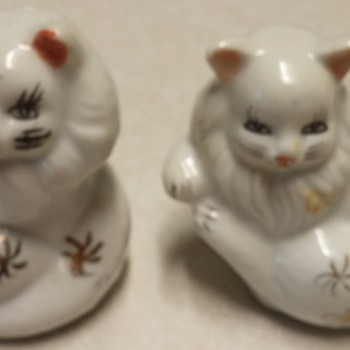 2 White Cat Figurines