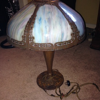 Slag glass table lamp