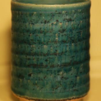 Turquoise Studio Pottery Tumbler - Art Pottery