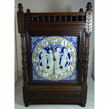 Aesthetic Movement Clock, the enamel face designed by Walter Crane and Lewis Day - Victorian Era