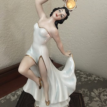 Vintage Dresden lady figurine with tambourine  - Figurines