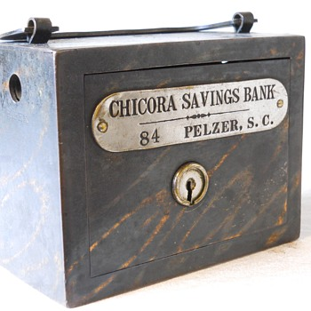 "Promotional Advertising Steel Bank""Chicora Savings Bank, Pelzer, South Carolina""c 1900"
