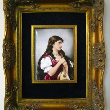 Antique T&V Limoges Hand Painted Signed Portrait Plaque - China and Dinnerware