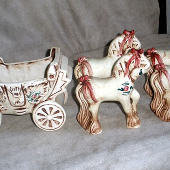 Cinderella Princess Coach & Four Horses by BZ Originals, CA Pottery - Art Pottery