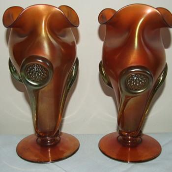 Mega Rare Vaseline Carnval Glass Tornado Vases