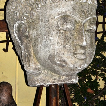 Enormous Buddha Head Mounted on a Tall House Jack - Asian